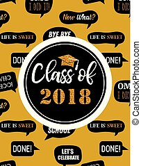 Graduation Class of 2018, party invitation, poster or banner template