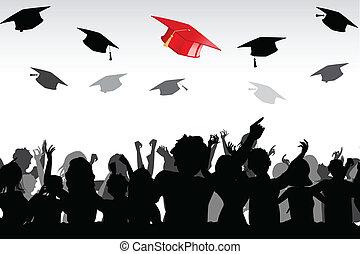 Graduation - illustration of graduates tossing mortar board...