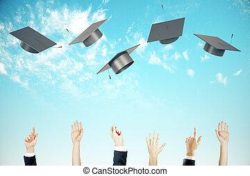 Graduation concept clear sky background