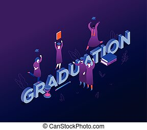 Graduation concept - modern colorful isometric vector illustration