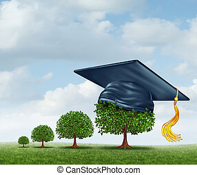 Graduation Concept - Graduation concept with a group of...