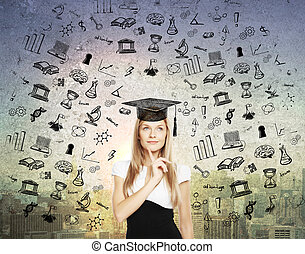 Graduation concept with thoughtful businesswoman