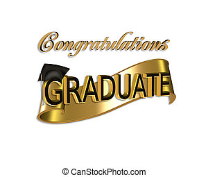 Graduation congratulations - gold and black digital art with...