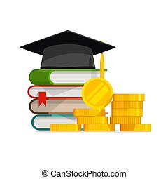 Graduation cost or expensive education or scholarship loan vector, flat cartoon money stack of books and cap or hat, idea of tuition budget or college, university learning fee, profit or earnings