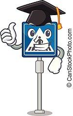 Graduation crosswalk sign isolated in the cartoon