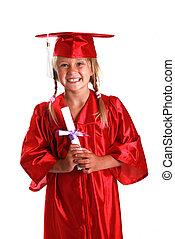 Adorable little girl graduating from kindergarten