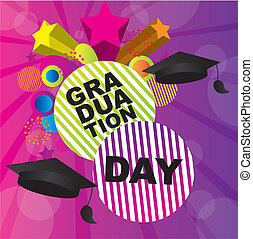 graduation day - illustration graduation day over purple...
