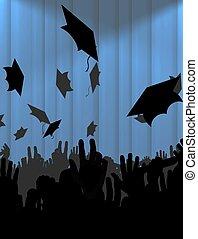 graduation day - Illustration of lots of graduates throwing...