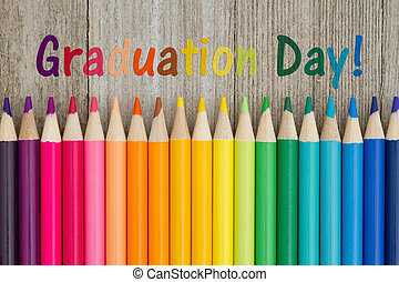 Graduation day message - Graduation day text with colorful...
