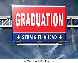 Graduation day at college high school or university, road...