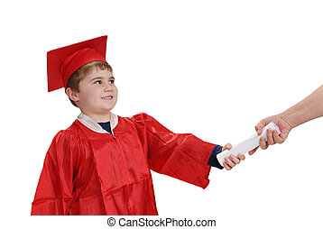 Graduation Day - Young child, in red graduation robe and...