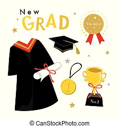 Graduation Day Vector Icon set of Celebration Elements in Flat Design.