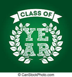 Graduation design over green backgrorund, vector ...