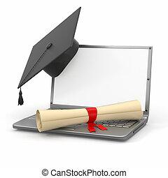 graduation., diplôme, ordinateur portable, planche, mortier,...