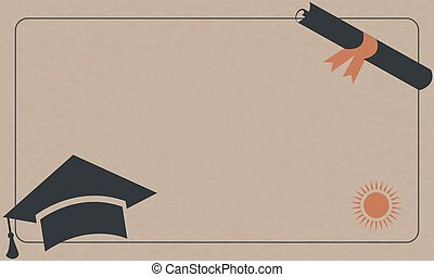 Graduation Diploma and Cap on Paper Background. Retro Style.