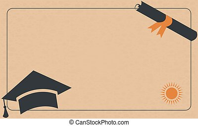 Graduation Diploma and Cap on Paper Background. Retro Style. From Retro Graduation Collection.