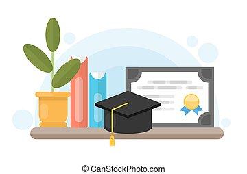 Graduation diploma certificate.