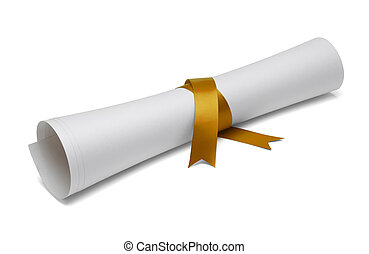 Graduation Diploma - Diploma tied with gold ribbon on a...