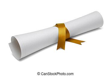 Graduation Diploma - Diploma tied with gold ribbon on a...