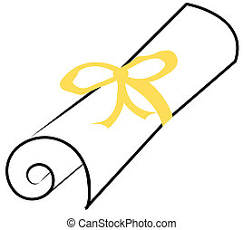 graduation diploma with yellow ribbon - graduation diploma...