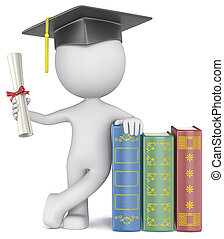 Dude the Student with hat holding diploma.