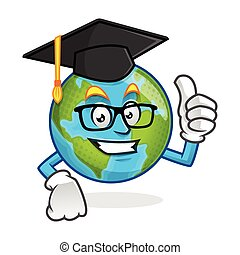 Graduation earth mascot wearing graduation cap, earth character, earth cartoon vector