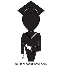 Graduation education icon in silhouette black on white backround