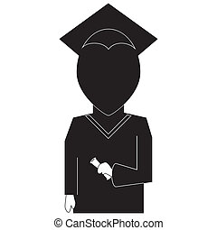 Graduation education icon in  silhouette black on white backround