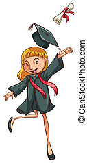 Graduation - Illustration of a girl graduating with a degree