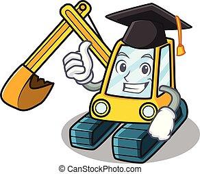 Graduation excavator character cartoon style