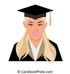 graduation, female, vector illustration