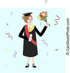 graduation female woman holding bouquet flower