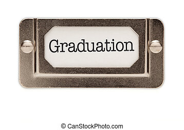 Graduation File Drawer Label Isolated on a White Background.