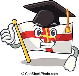 Graduation flag guernsey with the cartoon shape vector illustration