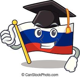 Graduation flag russian stored in cartoon cupboard