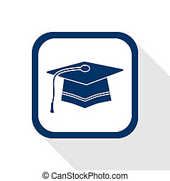 graduation flat icon - square blue icon graduation with long...