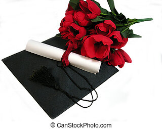 Graduation flowers - a Graduation cap, diploma, and flowers ...