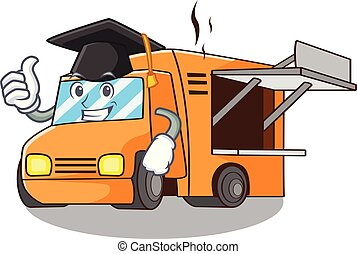 Graduation Food Truck with Isolated on mascot