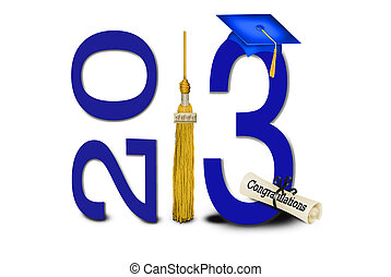 Graduation for 2013 class - Gold tassel and blue grad cap...