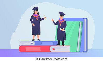 graduation for successful college student with books as education source with modern flat style