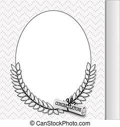 graduation frame with diploma - Oval frame with laurel leaf...