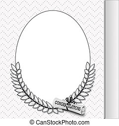 graduation frame with diploma - Oval frame with laurel leaf...
