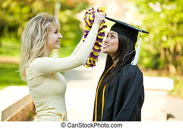 Graduation girl - A happy beautiful graduation girl being ...