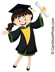 Graduation girl with degree