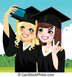 Graduation Girls Selfie - Two beautiful student girls on...