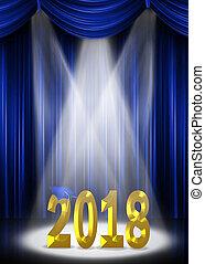 graduation gold 2018 text in spotlight