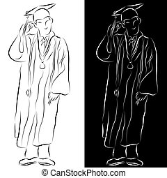 An image of a student dressed in a graduation gown line drawing.