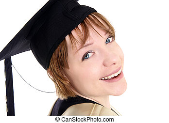 graduated girl with hat closeup