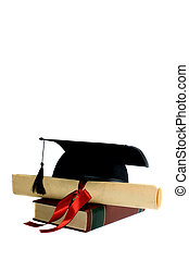 Graduation - graduation cap, diploma with red ribbon on...
