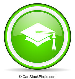 graduation green glossy icon on white background